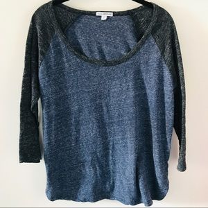 James Perse 3/4 Sleeved Baseball Tee Gray Blue M 2
